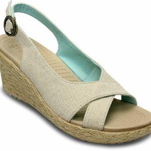 Crocs A-Leigh Linen Espadrille Wedge Sandals sz 9